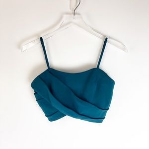 NWT Lovers + Friends Teal Draped Crop Top Sz. S